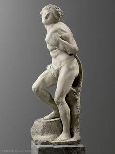 """Michelangelo BUONARROTI dit MICHEL-ANGE (Caprese (Arezzo), 1475 - Rome, 1564) Captif (""""the Esclave rebelle"""")"""